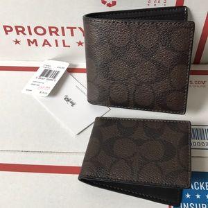 💯🆕coach men wallet🆕black/brown/ID&cards holder